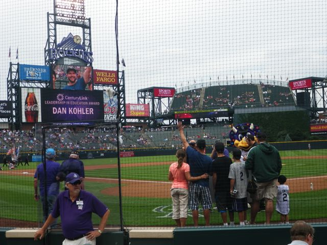 Accompanied by his wife and two students who recommended his nomination, Soroco Middle School history teacher Dan Kohler accepted a teaching leadership award before a Colorado Rockies game earlier this month.