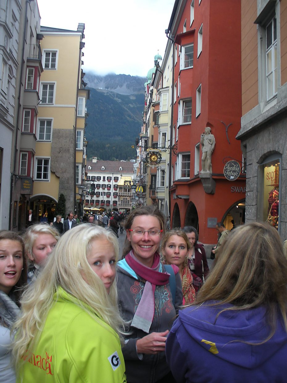 The Lowell Whiteman School science teacher Gina Wither surrounded by students and athletes on a day off for sightseeing in Innsbruck, Austria.