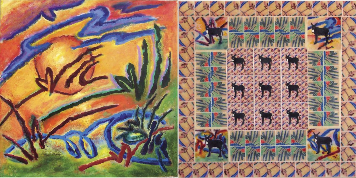 Artists Phyllis Lasche and Rick Green, respectively, created the left and right panels of this diptych. The work is made of colored beeswax that has been painted on a hard surface.
