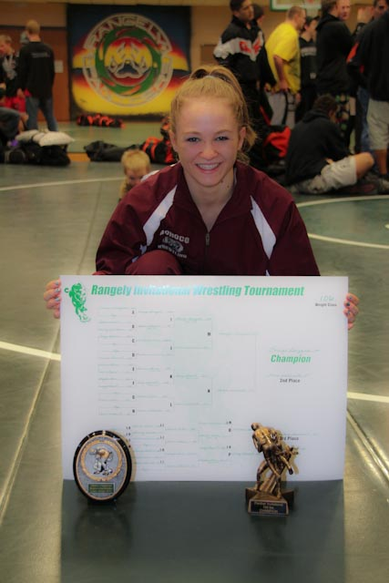 """Lauryn Bruggink – 1st place and voted """"Outstanding Lower Weight Wrestler"""" (she received a OW plaque). Submitted by: Geri Bruggink"""