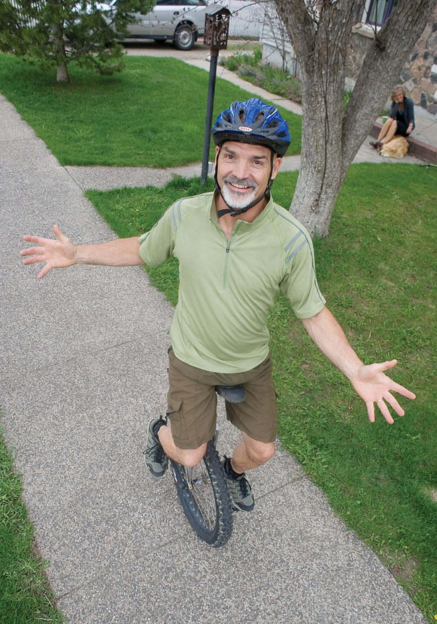 Von Wilson also counts unicycling among his unorthodox pursuits. He can make the wobbly ride up Buffalo Pass and down the Spring Creek Trail in two and a half hours from his house on Seventh Street.