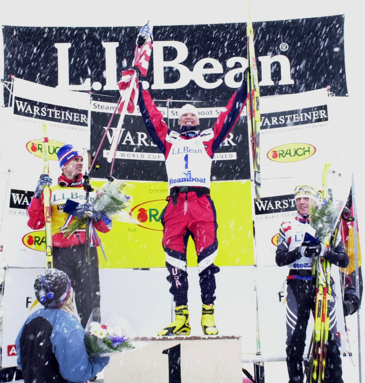 Todd Lodwick celebrates in front of his hometown crowd after winning the Ski Town USA Classic World Cup in Steamboat Springs.