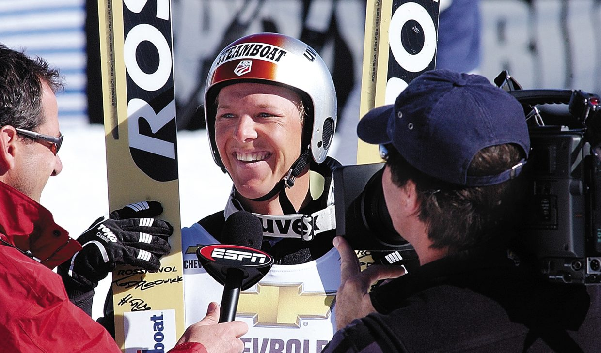 Steamboat Springs Nordic Combined skier Todd Lodwick answers a reporter's questions after winning a title at the 2004 National Championships in Steamboat Springs.