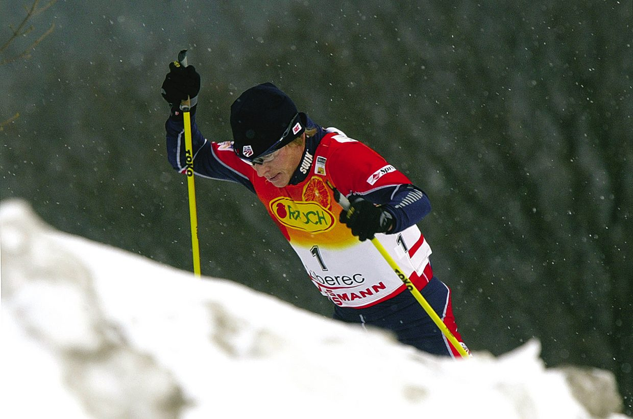 Todd Lodwick, of the United States, climbs a hill during the Nordic Combined World Cup event in Liberec, Czech Republic, on Jan. 23, 2005. Lodwick placed third behind Kristian Hammer from Norway and Hannu Manninen from Finland, who won the race.
