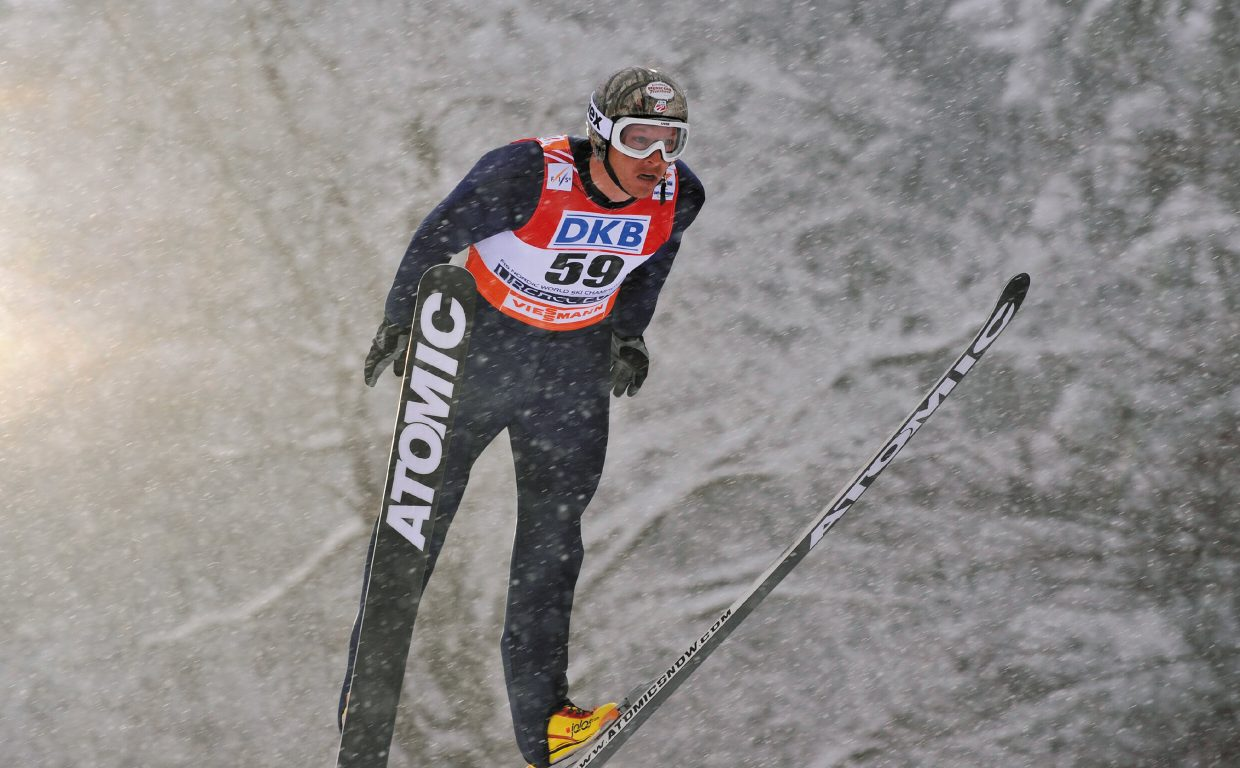 U.S. Nordic combined athlete Todd Lodwick jumps off the normal hill in the training session during the mass start competition at the FIS Nordic World Ski Championships 2009 in Liberec, Czech Republic, on Feb. 20, 2009.