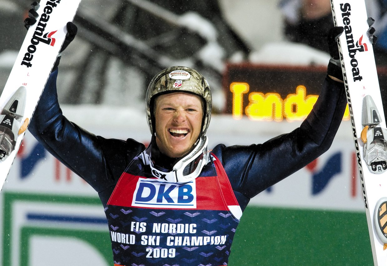 Steamboat Springs' Todd Lodwick, of the United States, celebrates his gold medal in the 2009 Nordic Combined World Championships in Liberec, Czech Republic, on Feb. 20, 2009, in Liberec. Lodwick won the gold medal ahead of Tino Edelmann, of Germany, and Jason Lamy Chappuis, of France.