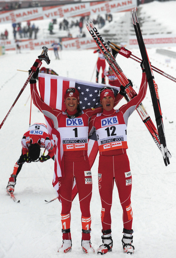 Todd Lodwick, left, celebrates his victory with teammate Bill Demong after the 10K individual Gundersen event of the Nordic skiing world championships in February 2009 in Liberec, Czech Republic. Lodwick won the race ahead of Jan Schmid, of Norway. Demong took the bronze.