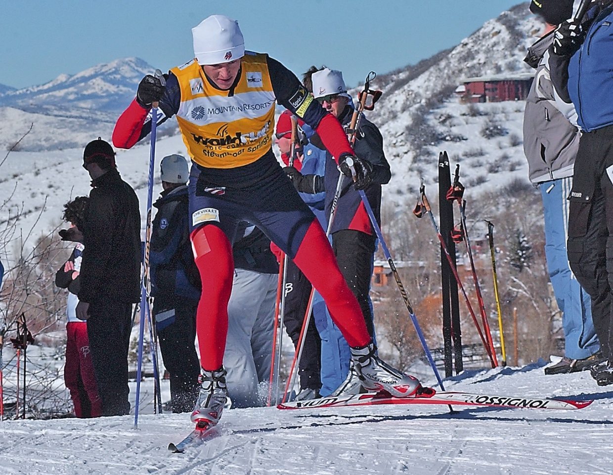 Steamboat Springs' Todd Lodwick powers up a hill along the 7.5-kilometer cross-country race en route to winning the Mountain Resorts World Cup B sprint event at Howelsen.