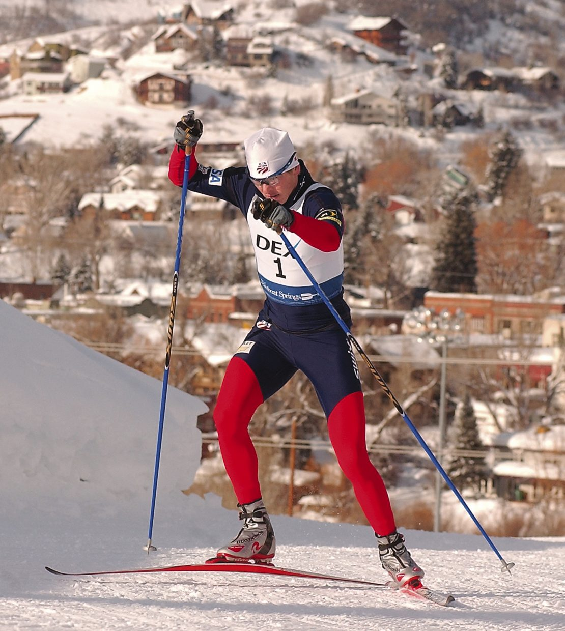 Steamboat Springs Nordic combined skier Todd Lodwick races along the Howelsen Hill cross-country course during the U.S. Nordic combined championships in 2006.