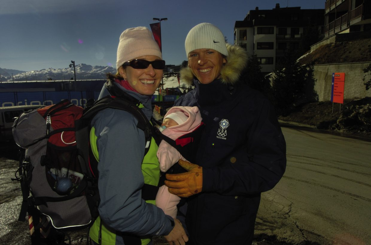 Todd Lodwick enjoys a moment with his wife, Sunny, and their newborn daughter, Charley, outside of Torino. Lodwick, a Steamboat native, was competing in his fourth and final Olympic Games in 2006.
