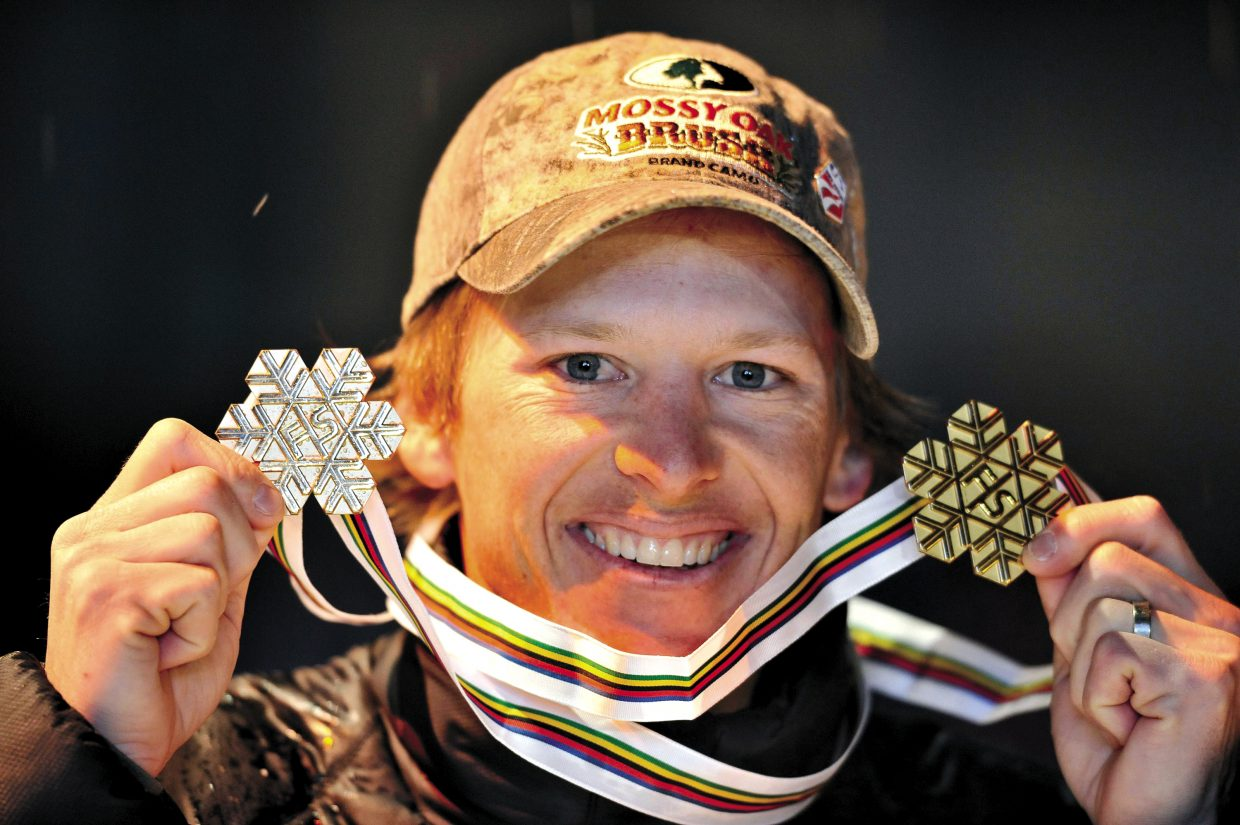 Todd Lodwick, of the United States, shows his medals after winning the Nordic Combined part of the Nordic skiing World Championships on Feb. 22, 2009, in Liberec, Czech Republic. Having already been victorious in the mass start, Lodwick, making his return after a two year absence, won the cross-country ski and ski jump sections of the discipline. Lodwick won the 10-kilometer ski race in a time of 24 minutes and 22.3 seconds, with Norway's Jan Schmidt in second 13 seconds behind and United States skier Bill Demong in third.