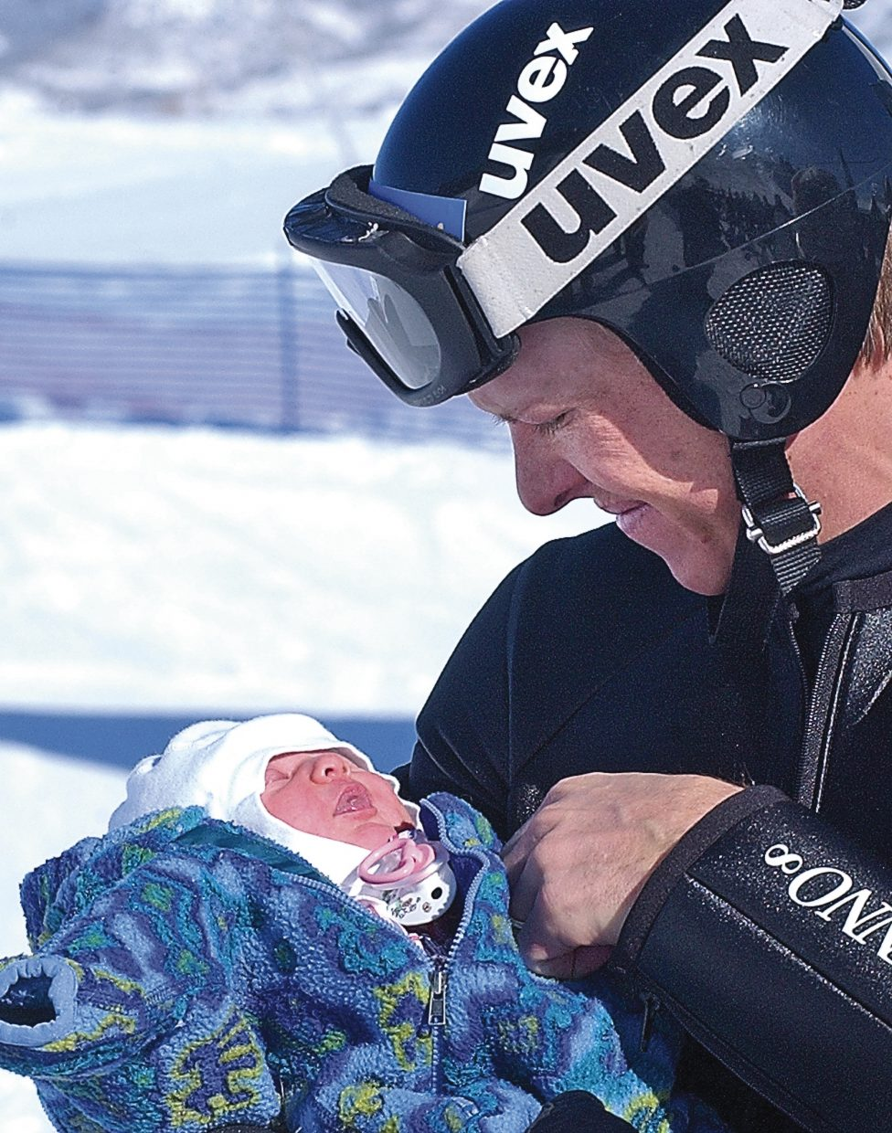 Todd Lodwick with his newborn daughter, Charley, in 2006.