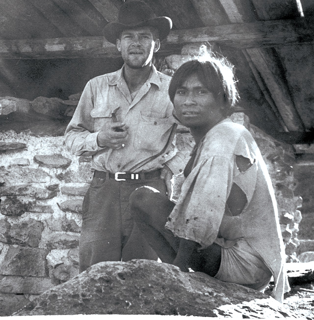 Lowell Whiteman stands with a Native American in Mexico in the 1950s or 1960s. Whiteman's interest in Mexico was part of the impetus for the two-month foreign trips students take each year.