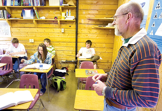 Instructor Joe Roberts, right, teaches a math class at Lowell Whiteman School in Steamboat Springs on Friday. Roberts has been working at the school for more than thirty years.