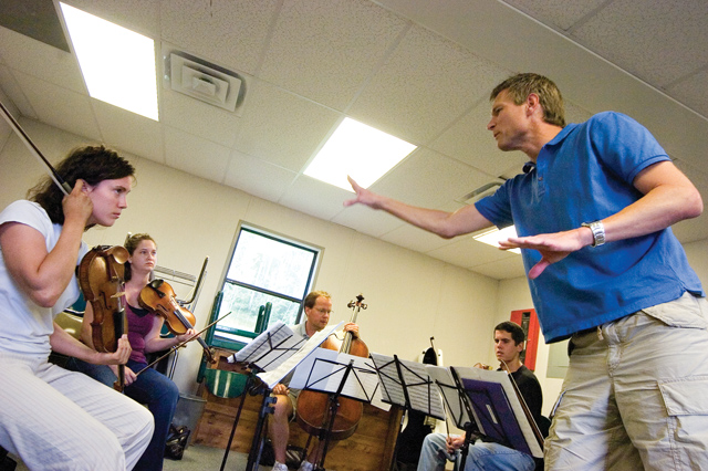 Ernest Richardson, right, offers some constructive criticism to a quintet of musicians during a master class for the Rocky Mountain Summer Conservancy at the Lowell Whiteman School on Tuesday afternoon.