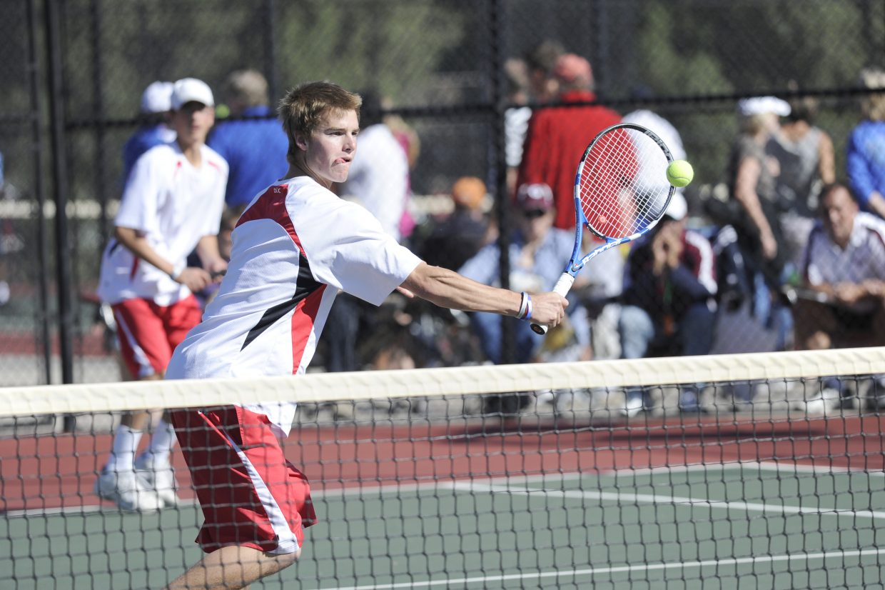 Steamboat Springs Luke Farny returns a shot during the opening round of the state high school tennis tournament in Pueblo on Thursday. Farny and teammate Kyle Rogers defeated C.J. O'Neil and Jacob Vaughn, of Golden, 6-3, 6-4, to advance to the quarterfinals.