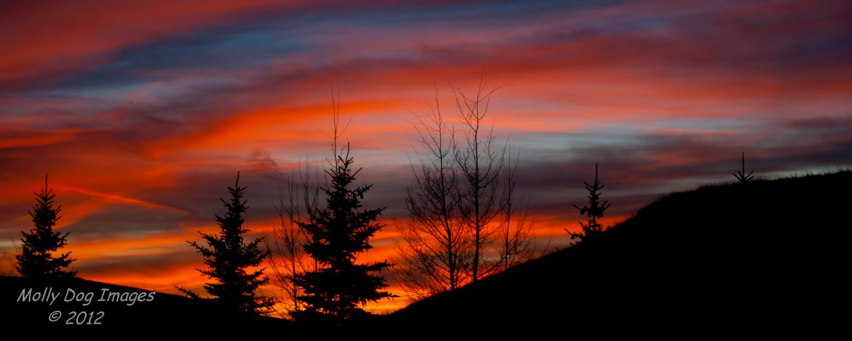 Ruby red sunset seen from Elk River Road on Wednesday. We may not have snow, but we do have color. Submitted by: John McArthur