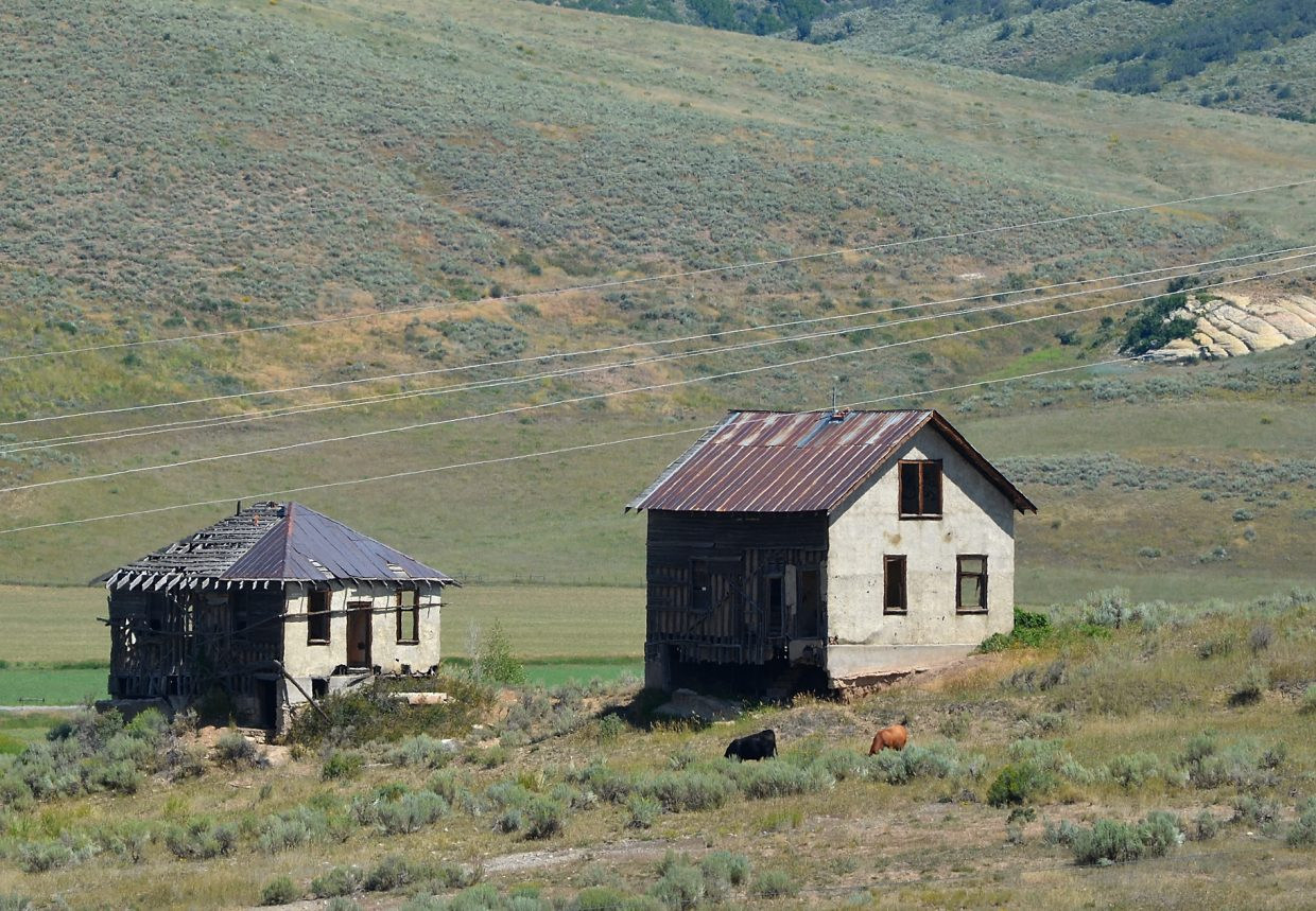 Steamboat resident Bill Neish lived in the uppermost house in this image while his father worked as a foreman at a coal mine in the company town of MacGregor in the 1920s.