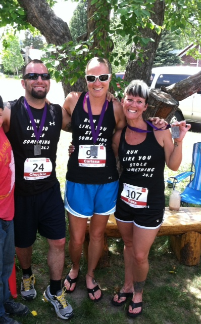 Steamboat locals Chuck Freeman, Carissa Berlet and Tara Chavarria ran in the Steamboat Marathon to raise money for Sk8 Church. Submitted by: Tara Chavarria