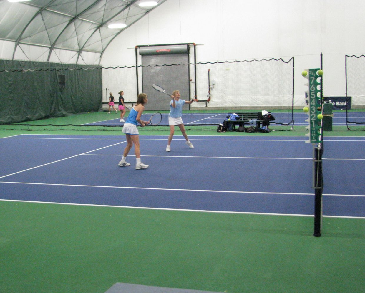 Marion Kahn and Carolyn Krueger play Saturday during the 2011 Steamboat City Singles and Doubles Championships. They lost to Cari Pugh and Patricia O'Brien in the Women's 3.5 Doubles semifinal round.