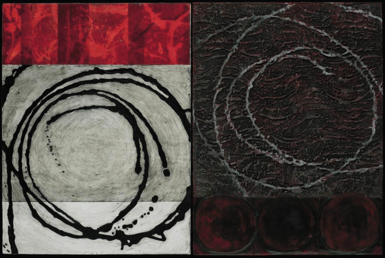 """An encaustic work started by Mari Marks, who did the panel on the left, and completed by Kim Bernard, who created the panel on the right. The two have continued to work together after the completion of """"The Diptych Project,"""" which is on display on at the Depot Art Center."""