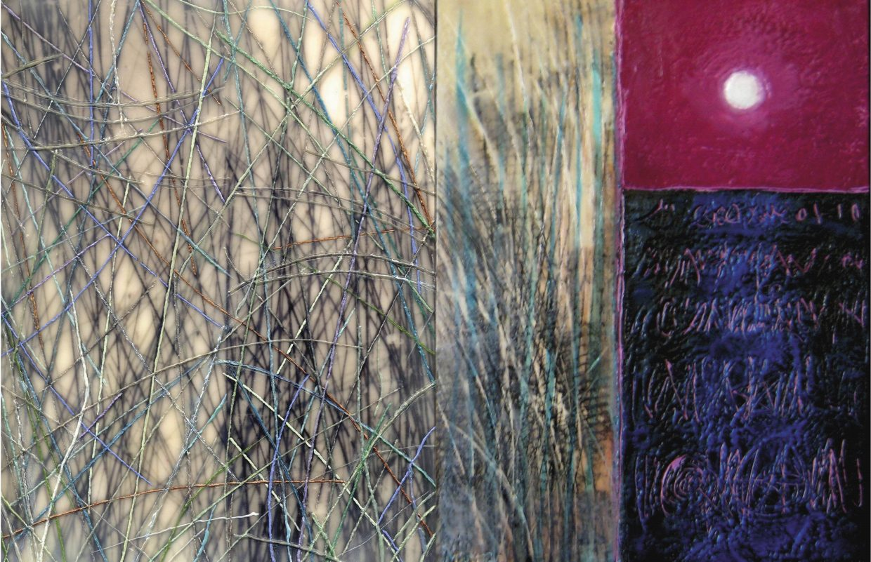 """""""Meeting the Sea,"""" a dual-panel encaustic work initiated by Tracy Mastro and completed by Susan Joan Schenk."""