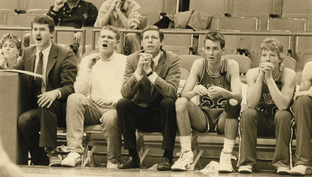 Kelly Meek watches during the state tournament at McNichols Sports Arena in 1987.