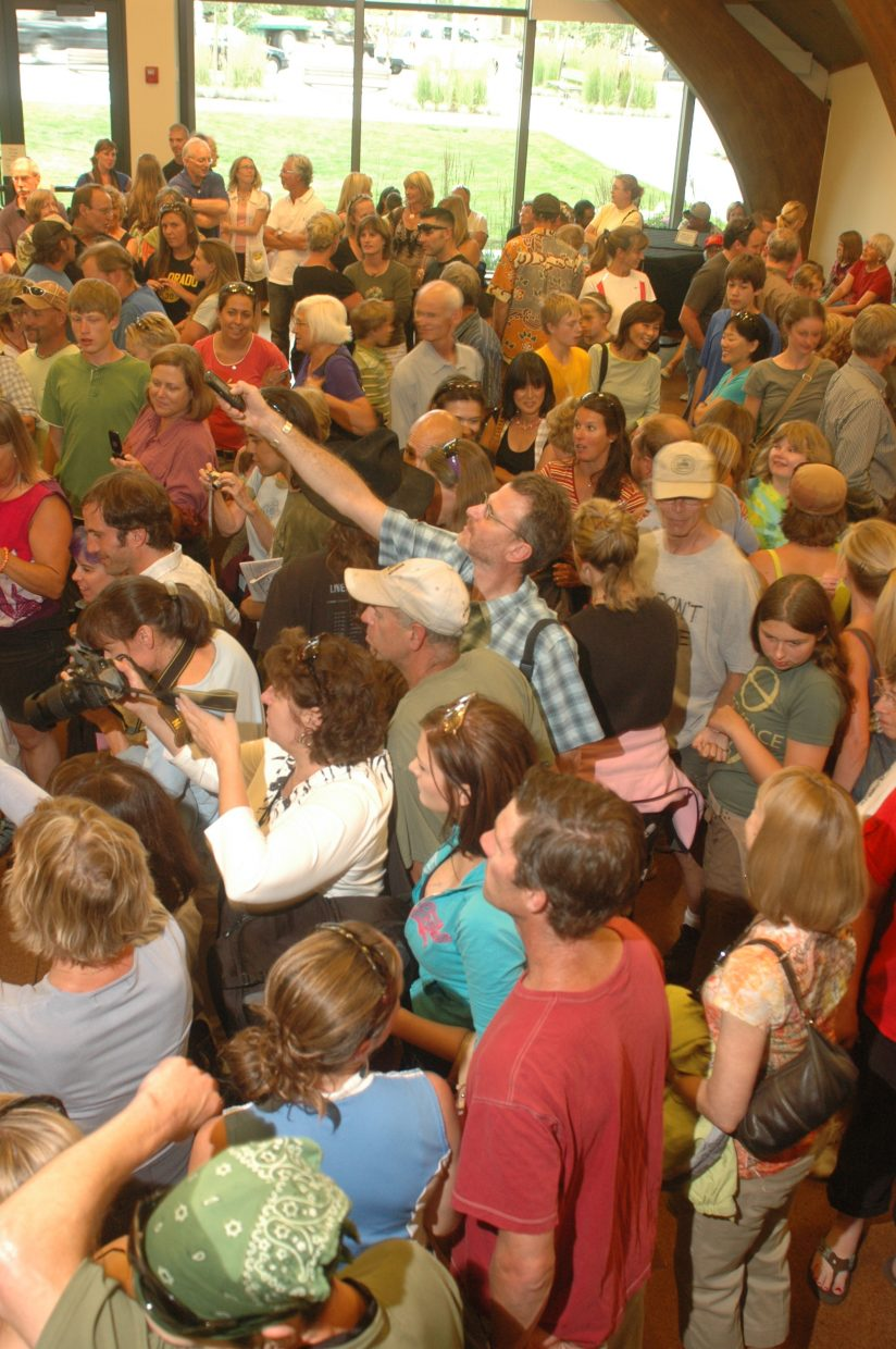 More than 300 intensely curious onlookers gathered in Library Hall at Bud Werner Memorial Library on Wednesday night.