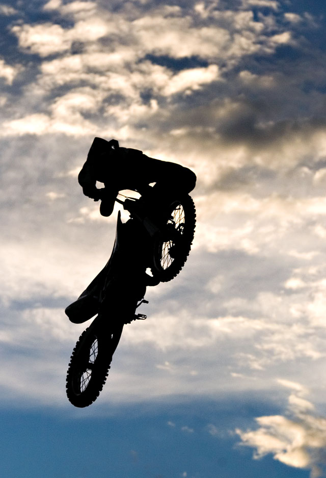 A performer snags some air during the Planet Powersports Freestyle Motocross show at the Routt County Fair in Hayden on Friday night.