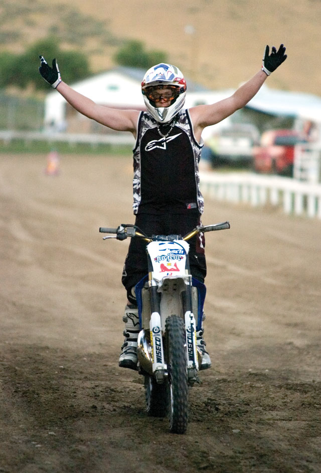 Ryan Hilfiger pumps up the crowd during the Planet Powersports Freestyle Motocross show at the Routt County Fair in Hayden on Friday night.