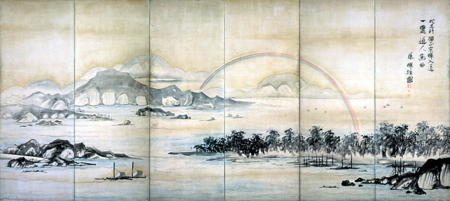 Mount Fuji and Miho no Matsubara (detail), c.1765, Edo period, Japan, by Soga Shohaku (1730-1781). Folding screen with ink, pigment, and gold on paper. Lent by the Kimiko and John Powers Collection.