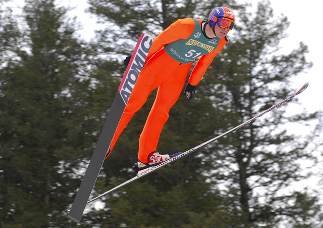 Bill Demong, who lived in Steamboat Springs for seven years before moving to Utah to be closer to the U.S. Team, led both rounds of jumping Saturday to capture the large hill title in the 2007 U.S. Ski Jumping and Nordic Combined Championships at Howelsen Hill.