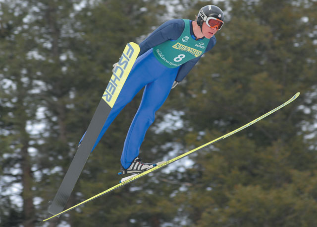 Steamboat Springs Alex Glueck soars above Howelsen Hill during Saturday's 2007 U.S. Ski Jumping and Nordic Combined Championships. The final event of the weekend will take place at 8 a.m. today, when the jumpers return to decide the normal hill title.