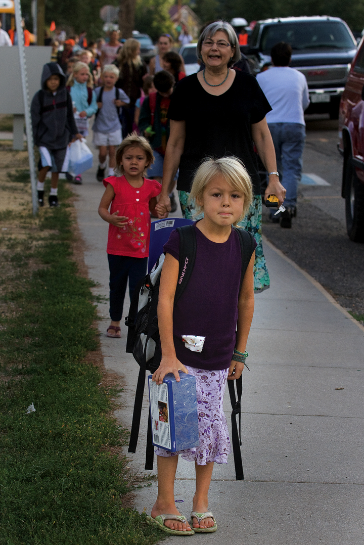 First-grader Kirra Kusy was just one of many Soda Creek Elementary students attempting to find their way around campus during the first day of school Monday in Steamboat Springs.