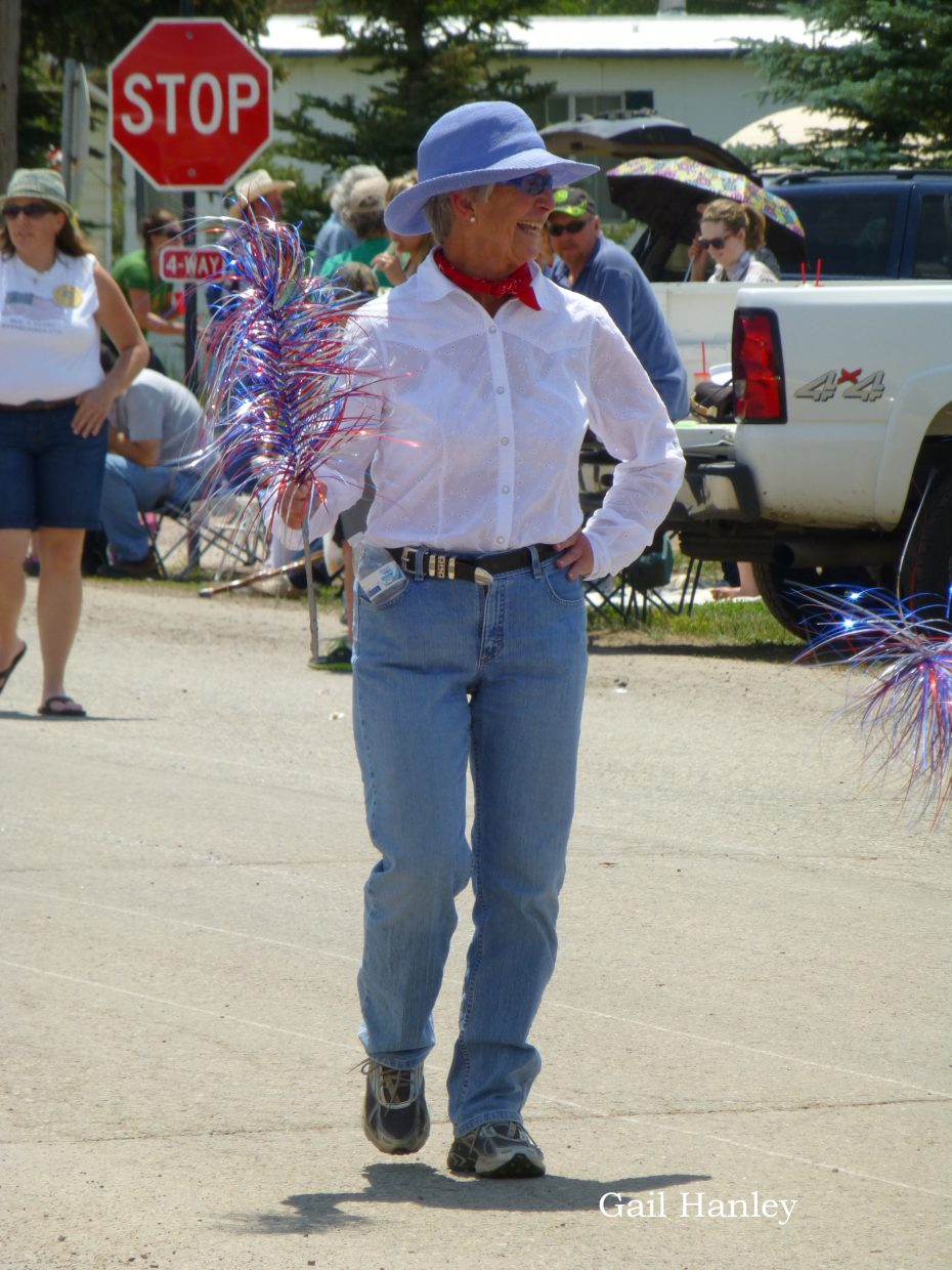 Nancy Smith in the Yampa Parade. Submitted by: Gail Hanley.