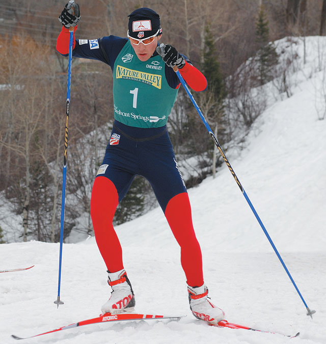 Bill Demong powers up a hill along the 7.5-kilometer cross-country course at Howelsen Hill on Saturday. Demong won the large hill and Nordic combined titles at the 2007 U.S. Ski Jumping and Nordic Combined Championships.