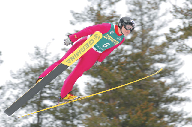 Utah ski jumper Lindsay Van soars to her third straight National Jumping title Saturday morning during the 2007 U.S. Ski Jumping and Nordic Combined Championships at Howelsen Hill. Van has won several national titles in the past, but this is the first time women have recieved paychecks from the U.S. Ski Team for top finishes at a national event.