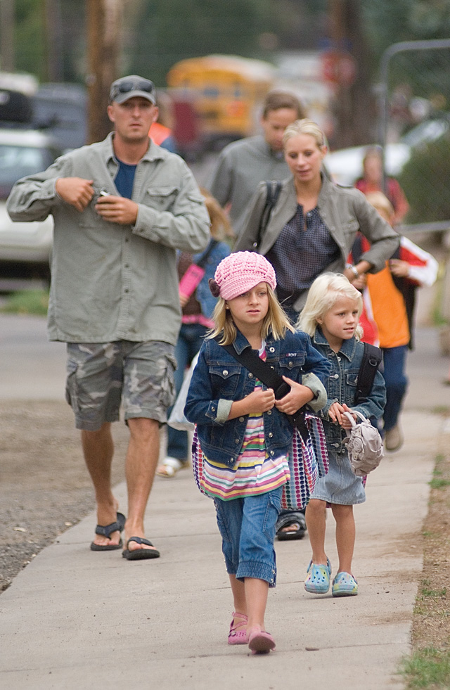 """A sharply dressed Mattison McQueen was ready to get back to work on Monday, the first day of school at Soda Creek Elementary School and across the Steamboat Springs School District. Mattison and her classmates arrived at """"Camp Soda Creek,"""" which will serve as the students' temporary school this year while a new building is built on the same site as the old Soda Creek school."""