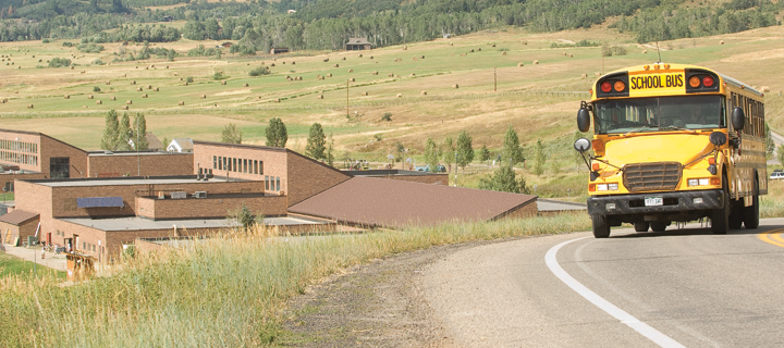 A bus leaves the Strawberry Park Campus following the first official day of school Monday in Steamboat Springs.