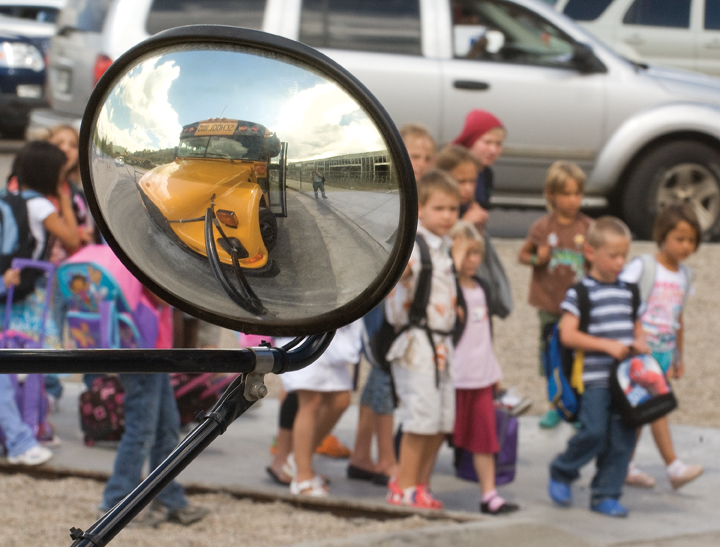 Elementary school students from Strawberry Park make their way to buses after Monday's first day back to class. Students in Steamboat Springs ushered in the new school year Monday at campuses across the county, marking the end of their summer vacations.