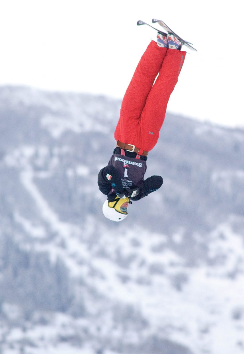 U.S. Freestyle Ski Team member Jeret Peterson nails his first jump during the 2010 U.S. Winter Olympic Team Trials at the Steamboat Ski Area. Peterson beat out Dylan Ferguson and Steamboat Springs favorite Ryan St. Onge to win the event.