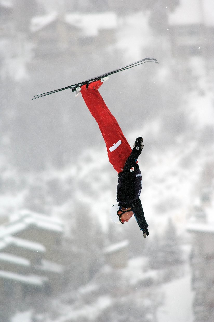 Hometown favorite Ryan St. Onge, who lived in Steamboat Springs during high school, competes at the 2010 U.S. Winter Olympic Team Trials at the Steamboat Ski Area. St. Onge finished third behind winner Jeret Peterson and second-place finisher Dylan Ferguson.