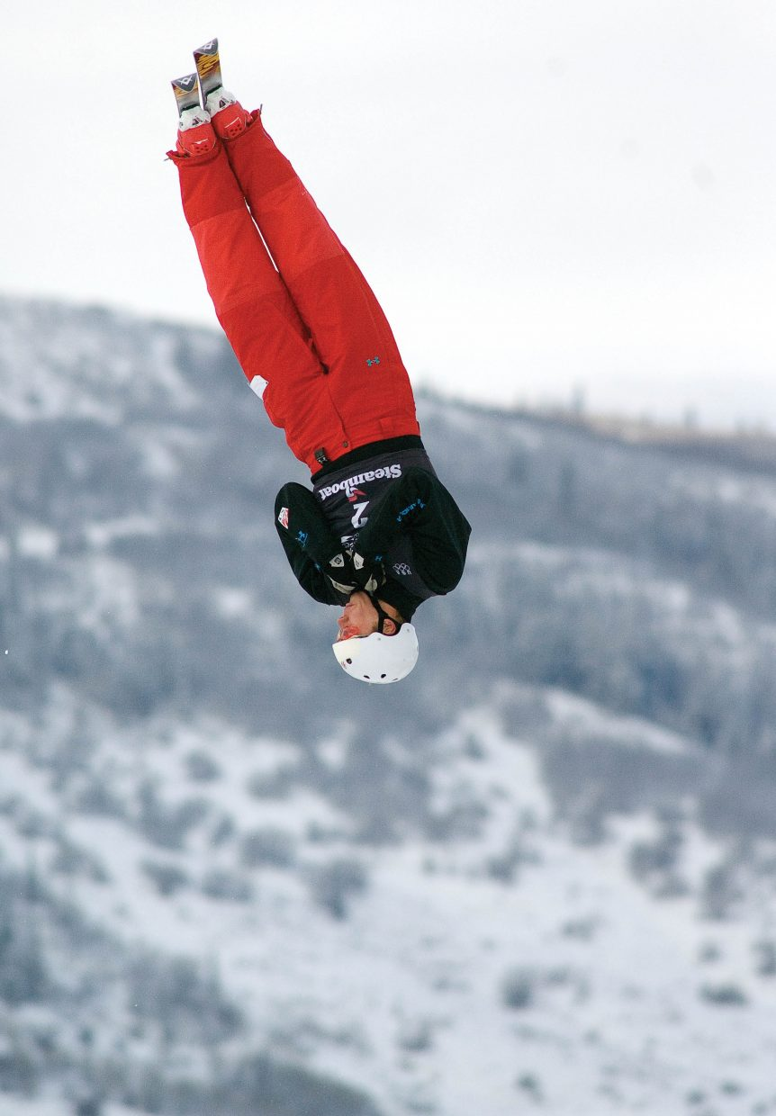 Ryan St. Onge competes at the 2010 U.S. Winter Olympic Team Trials at the Steamboat Ski Area. St. Onge finished third behind winner Jeret Peterson.