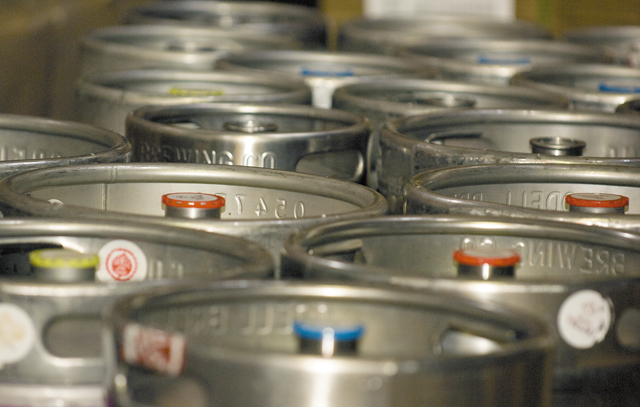 Kegs are lined up at Odell Brewing Co. in Fort Collins.