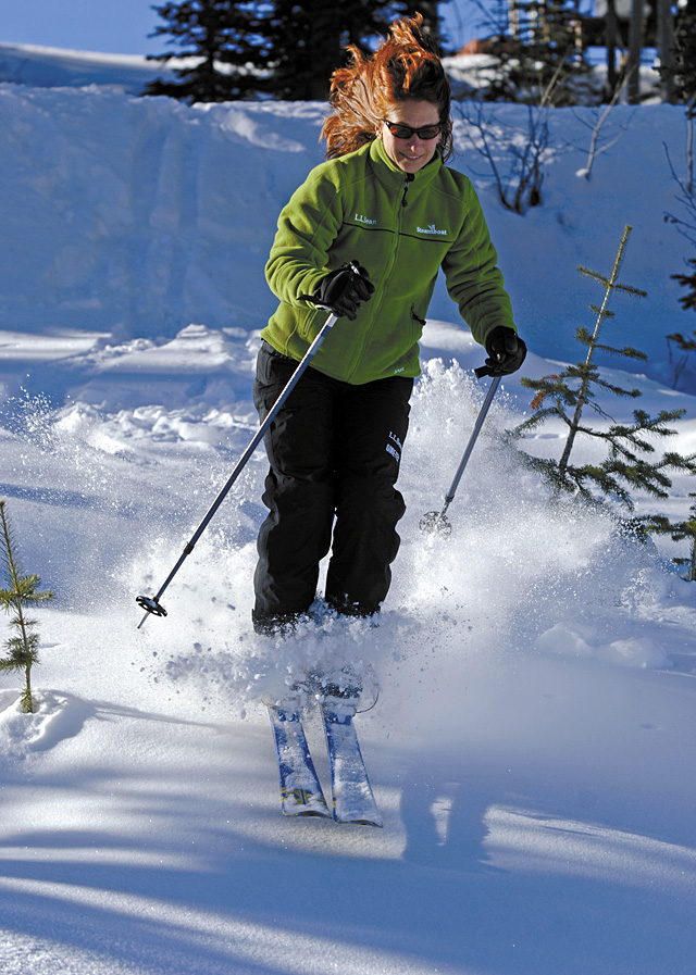 Steamboat resident Audrey Williams finds a bit of powder as she starts out the 2006-07 ski season at the Steamboat Ski Area on Wednesday.