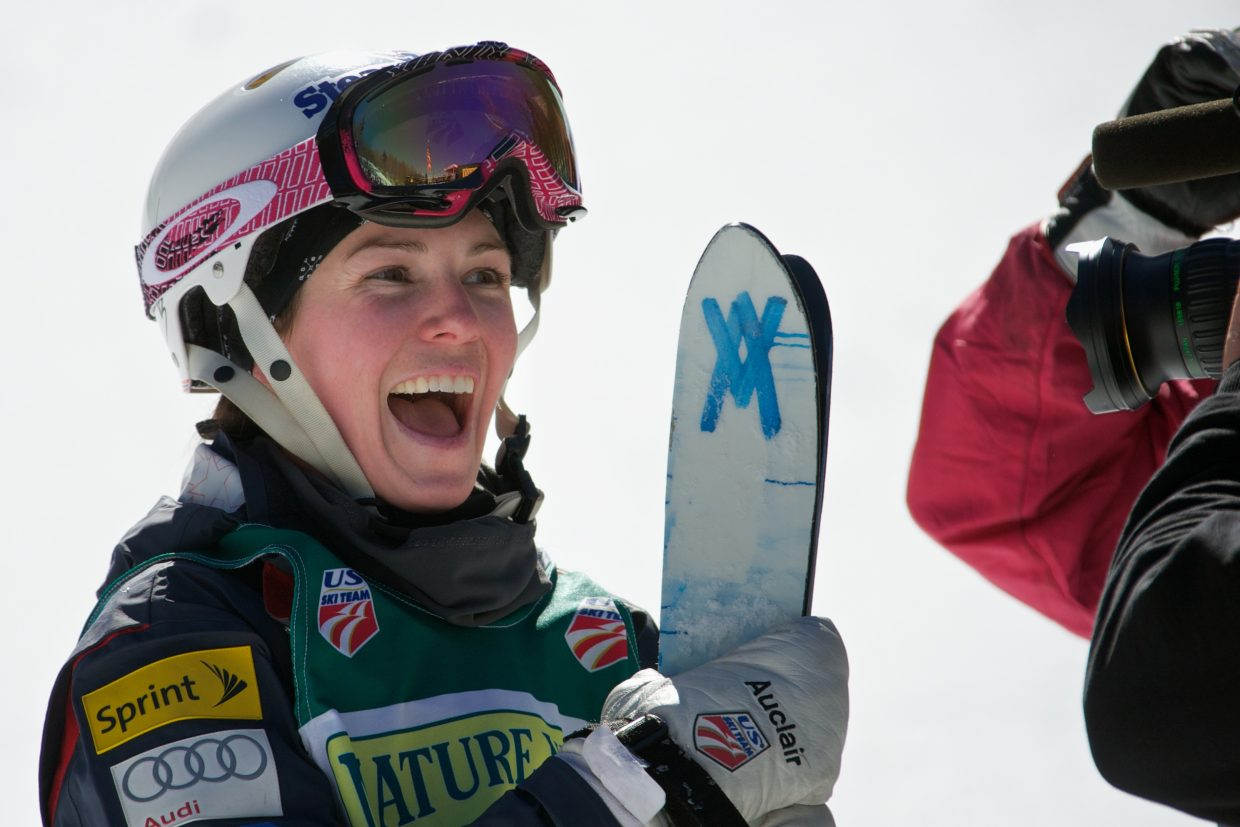 Steamboat Springs freestyle moguls skier Eliza Outtrim smiles at the 2011 U.S. Freestyle Championships. The 2003 Lowell Whiteman School graduate is currently second in the world in moguls.