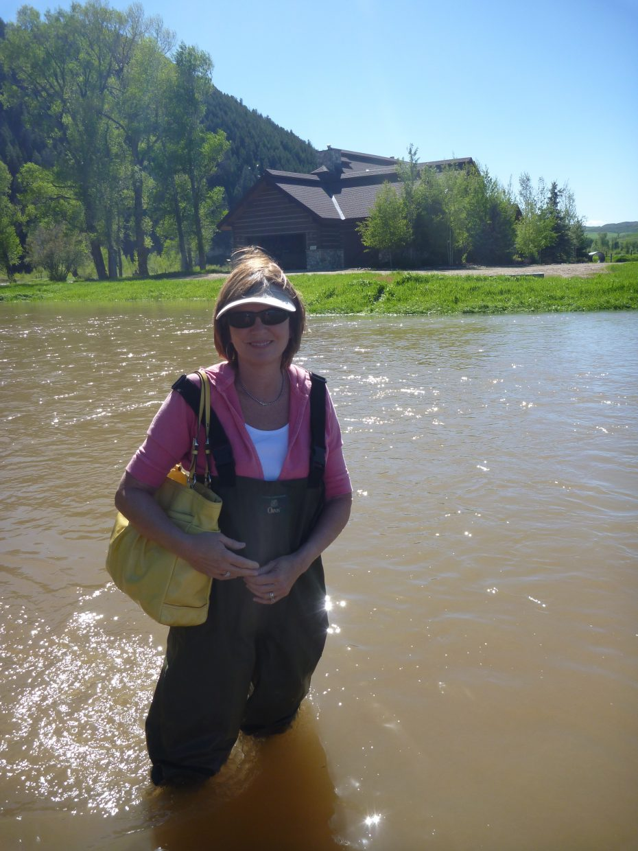 Thank Goodness for Waders! This is the only way off our property on Yampakita Lane where the Elk and Yampa Rivers converge, Cindy Sanders 6/8/11.