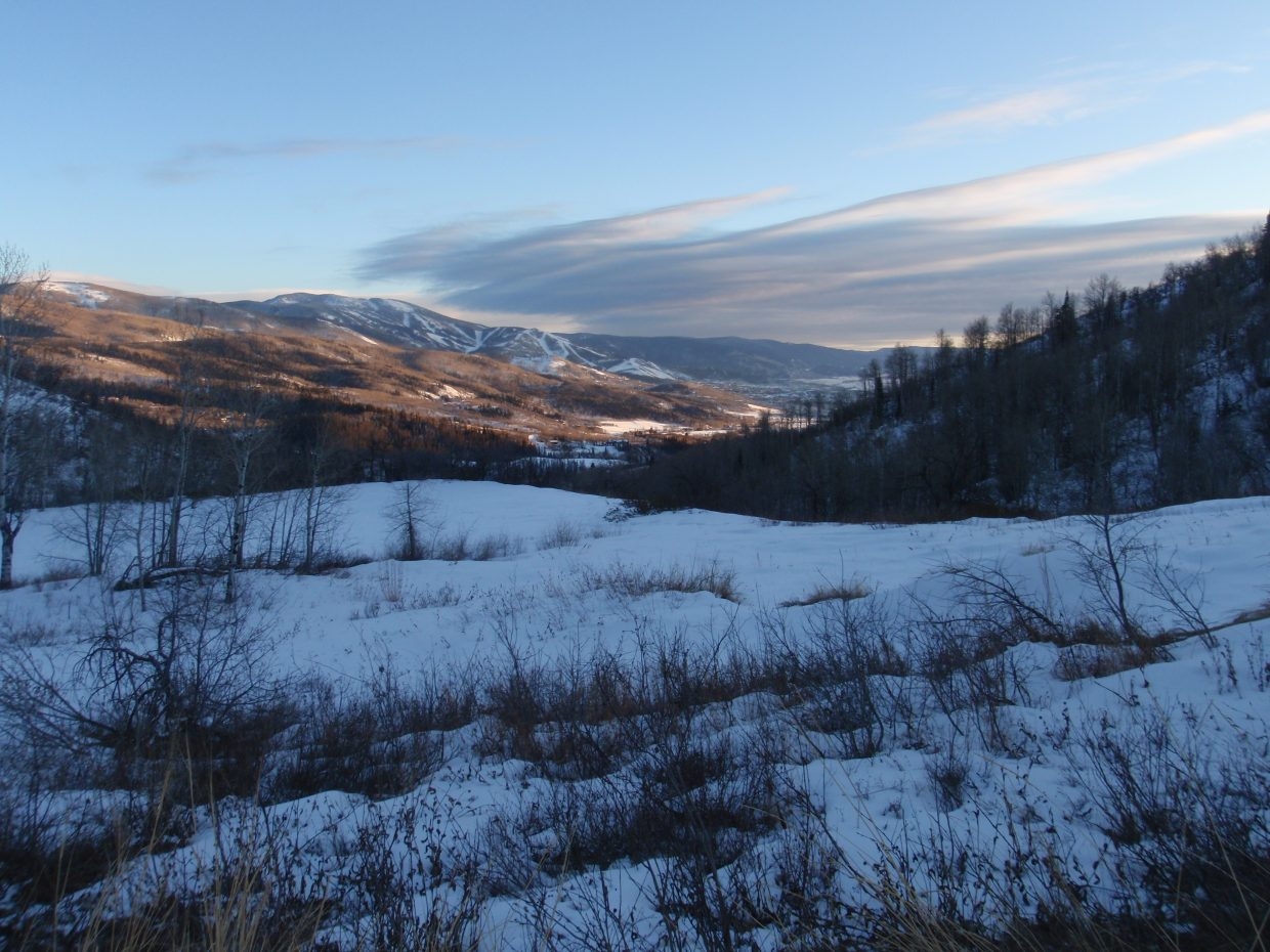 On the way to the Strawberry Park Hot Springs, looking back at the Yampa Valley. Submitted by: Marie-Beth Cheezem