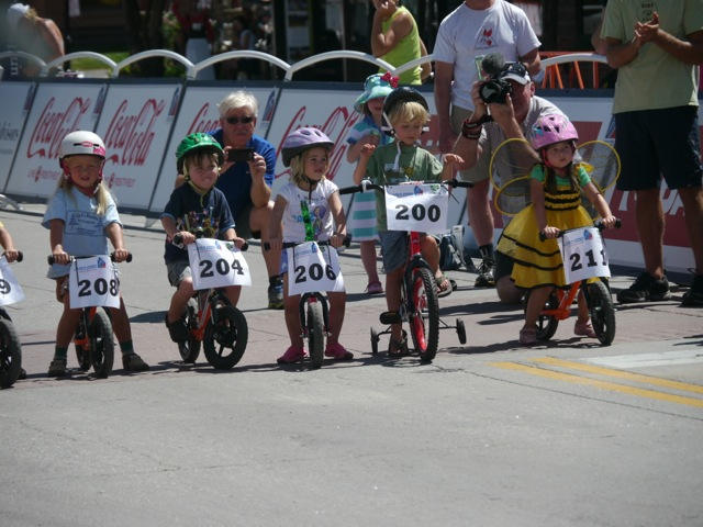 Children line up to participate in the Strider bike race Wednesday afternoon near the finish line for Stage 3 of the USA Pro Challenge in downtown Steamboat Springs. Submitted by Paul Davis