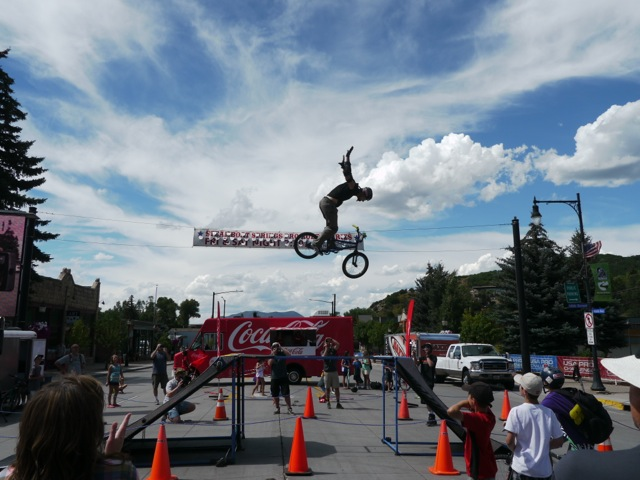 Spectators watch a BMX demonstration Wednesday near the finish line of Stage 3 of the USA Pro Challenge in downtown Steamboat Springs. Submitted by Paul Davis